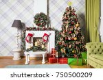 new year green tree decorated... | Shutterstock . vector #750500209