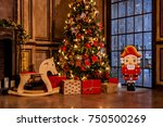 christmas decoration in grunge... | Shutterstock . vector #750500269