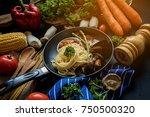 delicious italian spaghetti... | Shutterstock . vector #750500320