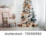 classic white christmas... | Shutterstock . vector #750500983