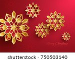 paper graphic of christmas... | Shutterstock .eps vector #750503140