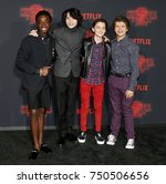 Small photo of Noah Schnapp, Gaten Matarazzo, Caleb McLaughlin and Finn Wolfhard at the Netflix's season 2 premiere of 'Stranger Things' held at the Regency Village Theatre in Westwood, USA on October 26, 2017.