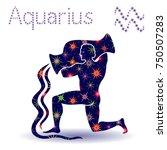zodiac sign aquarius  hand... | Shutterstock .eps vector #750507283