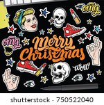 merry christmas with vector... | Shutterstock .eps vector #750522040