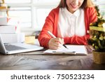 beautiful young asian business... | Shutterstock . vector #750523234