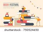 book festival poster concept of ... | Shutterstock .eps vector #750524650