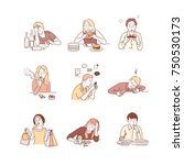 characters for bad habits. hand ... | Shutterstock .eps vector #750530173