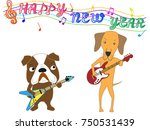 dog greeting card. dog plays... | Shutterstock .eps vector #750531439