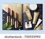 cosmetic magazine template  top ... | Shutterstock .eps vector #750535990