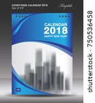 blue cover desk calendar 2018... | Shutterstock .eps vector #750536458