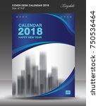 blue cover desk calendar 2018... | Shutterstock .eps vector #750536464