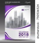 purple cover desk calendar 2018 ... | Shutterstock .eps vector #750536524