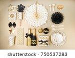 flat lay stylish set  champagne ... | Shutterstock . vector #750537283
