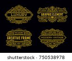 Art Deco Vintage Badges Minimalism Line Art Ornament Frame Decorative Graphic Design Element