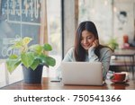asian business woman working in ... | Shutterstock . vector #750541366