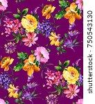 watercolor flower pattern   Shutterstock . vector #750543130
