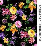 watercolor flower pattern | Shutterstock . vector #750545806