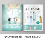 skin care magazine template ... | Shutterstock .eps vector #750555190
