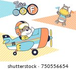 funny animals with plane ... | Shutterstock .eps vector #750556654