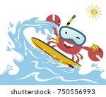 funny surfer cartoon vector   Shutterstock .eps vector #750556993