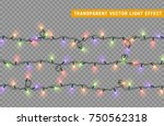 christmas lights isolated... | Shutterstock .eps vector #750562318