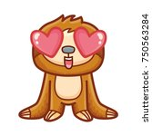cute sloth character in love ... | Shutterstock .eps vector #750563284