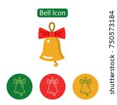 christmas bell with bow... | Shutterstock .eps vector #750573184
