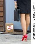woman arrives home after work... | Shutterstock . vector #750574294