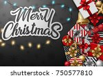 merry christmas typographical... | Shutterstock . vector #750577810