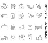 shopping   thin line icon set   ... | Shutterstock .eps vector #750578080