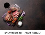 grilled fillet steak with red... | Shutterstock . vector #750578830