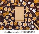 gingerbread cookies christmas... | Shutterstock . vector #750581818