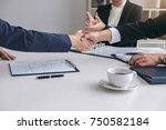 greeting new colleagues ... | Shutterstock . vector #750582184