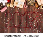 inscription with red beads 2018 ... | Shutterstock . vector #750582850