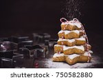 christmas cookie tree made with ... | Shutterstock . vector #750582880