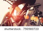 exercise bike cardio workout at ... | Shutterstock . vector #750583723