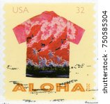 Small photo of UNITED STATES - CIRCA 2012: post stamp printed in USA (US) shows red Hawaiian shirt with surfers on surfboards and palm trees; Aloha shirts; Scott 4598 32c, circa 2012