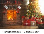 interior christmas. magic... | Shutterstock . vector #750588154