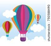 balloons air hot flying | Shutterstock .eps vector #750588490