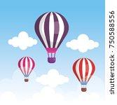 balloons air hot flying | Shutterstock .eps vector #750588556