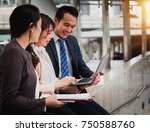 lively business people running... | Shutterstock . vector #750588760