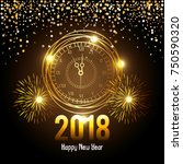 happy new year 2018 postcard | Shutterstock .eps vector #750590320