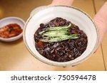 delicious black bean noodle   Shutterstock . vector #750594478
