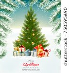 holiday background with a... | Shutterstock .eps vector #750595690