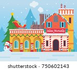cute santa's workshop building... | Shutterstock .eps vector #750602143