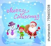 christmas. santa elf and... | Shutterstock .eps vector #750603238