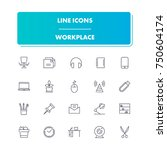 54. line icons set. workplace... | Shutterstock .eps vector #750604174