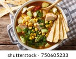 spicy tortilla soup with...   Shutterstock . vector #750605233