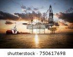 gas platform or rig platform in ... | Shutterstock . vector #750617698