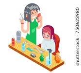 isometric children teenager... | Shutterstock .eps vector #750623980